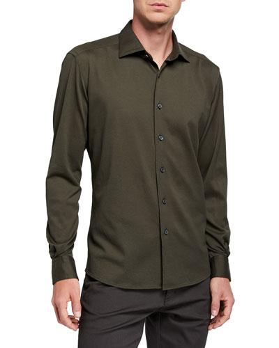 Men's Cotton Jersey Regular-Fit Sport Shirt