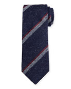 Canali Melange Stripe Silk-Wool Tie, Navy
