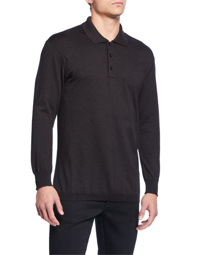 Men's Long-Sleeve Jersey Polo Shirt