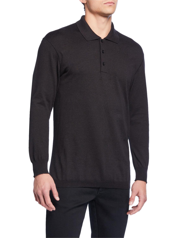 Ermenegildo Zegna T-shirts MEN'S LONG-SLEEVE JERSEY POLO SHIRT