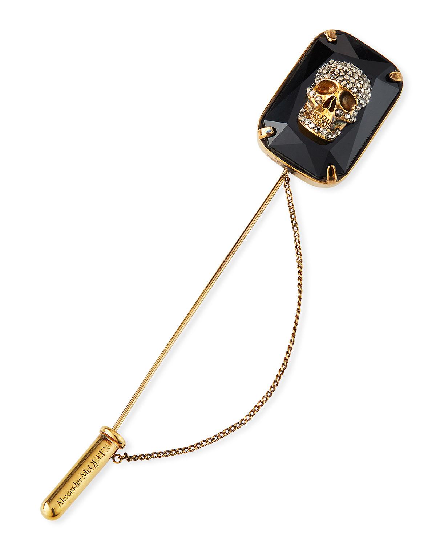 Men's Jeweled Skull Lapel Pin