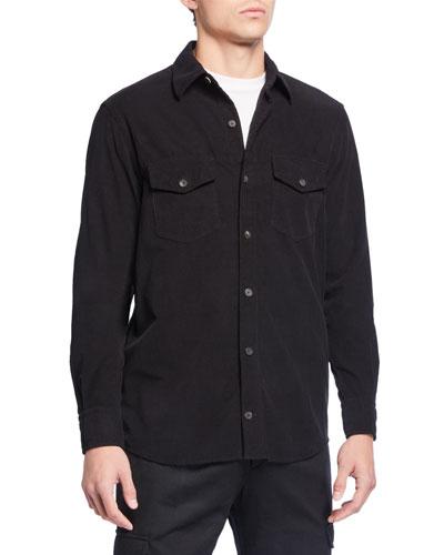 Men's Solid Corduroy Trim-Fit Sport Shirt