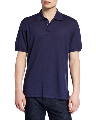 Men's Textured-Knit Polo Shirt
