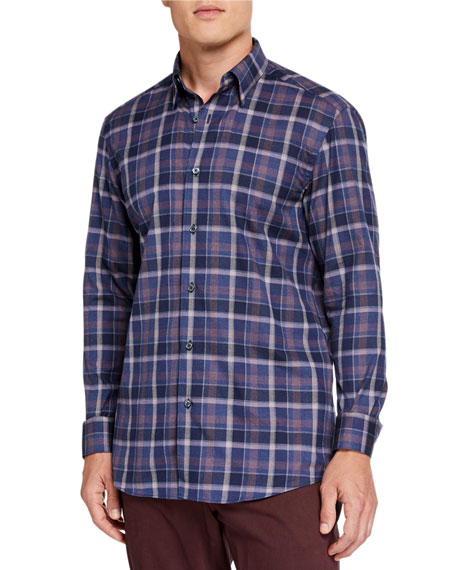 Ermenegildo Zegna Men's Large Plaid Regular-Fit Sport Shirt