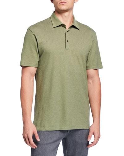 Men's Pique Polo Shirt, Medium Green
