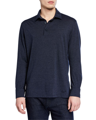 Men's Long-Sleeve Heathered Polo Shirt