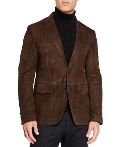 Men's Suede Two-Button Jacket
