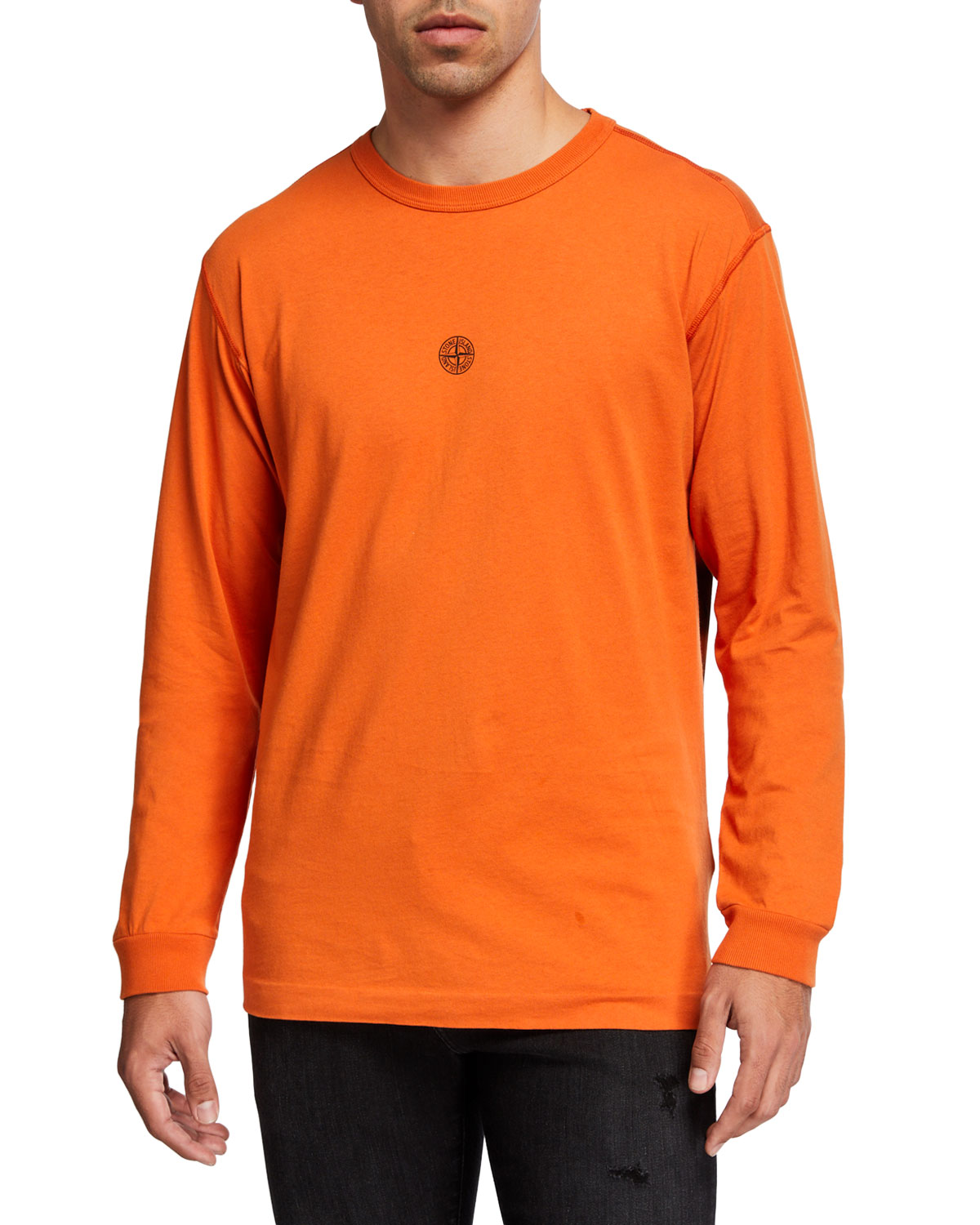 Stone Island T-shirts MEN'S SOLID CREWNECK LONG-SLEEVE T-SHIRT W/ LOGO PATCH