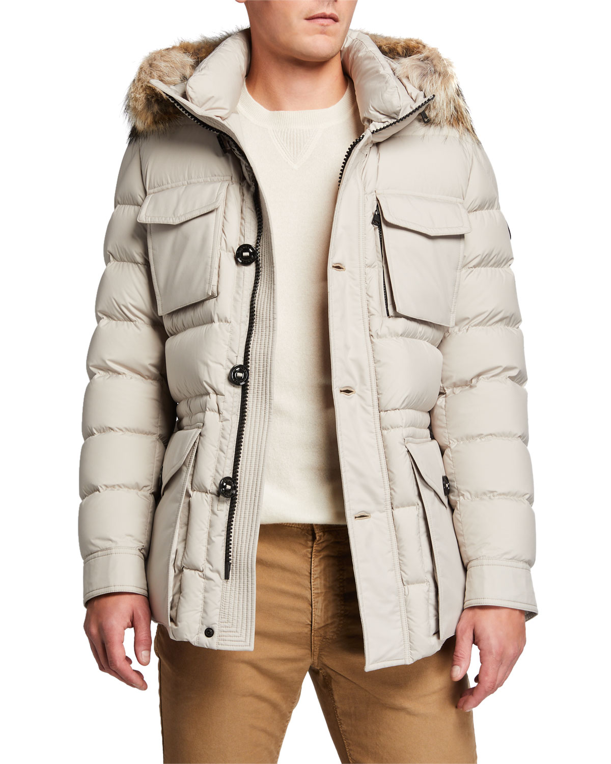 Moncler Coats MEN'S AUGERT PUFFER COAT W/ FUR TRIM