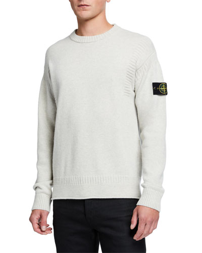 Men's Solid Wool Sweater w/ Rib Details
