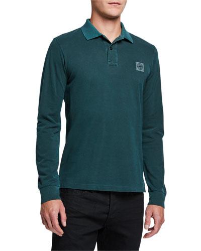 Men's Long-Sleeve Cotton Polo Shirt