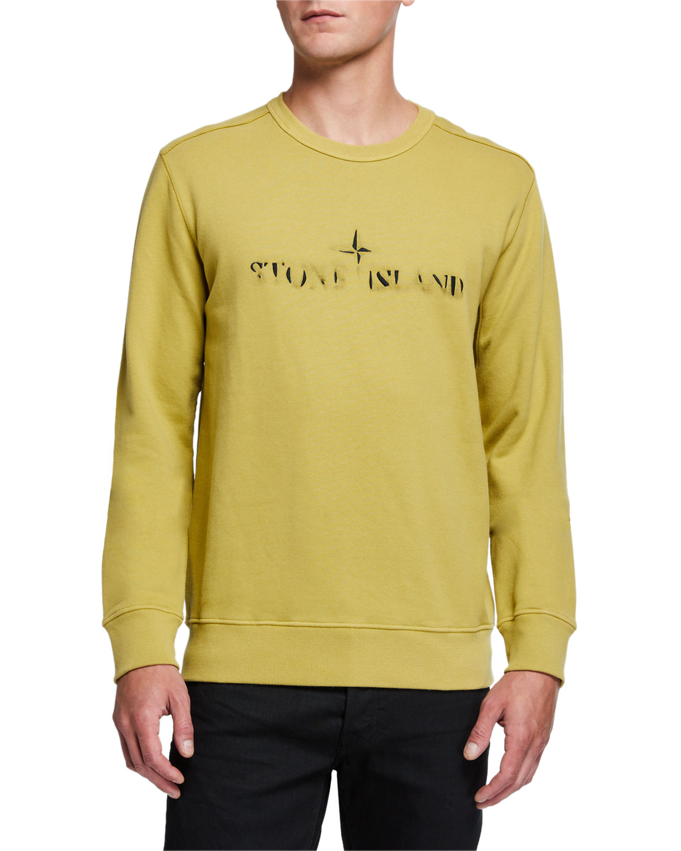 Stone Island T-shirts MEN'S FADED LOGO CREWNECK SWEATSHIRT