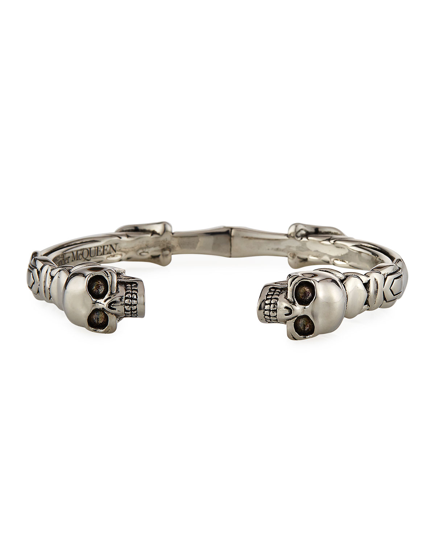 Men's Textured Twin Skulls Cuff Bracelet