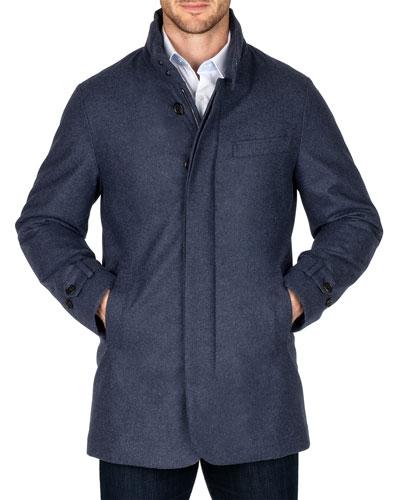 Men's Waterproof Heathered Wool Car Coat