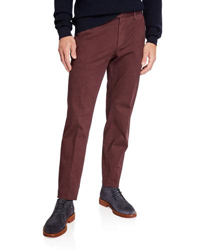 Men's Garment-Dyed Tab Twill Pants, Dark Red