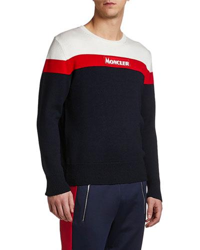 Men's Colorblock Logo Wool Crewneck Sweater