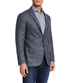 Canali Men's Kei Windowpane Melange Two-Button Jacket