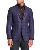 Canali Men's Kei Windowpane Two-Button Jacket