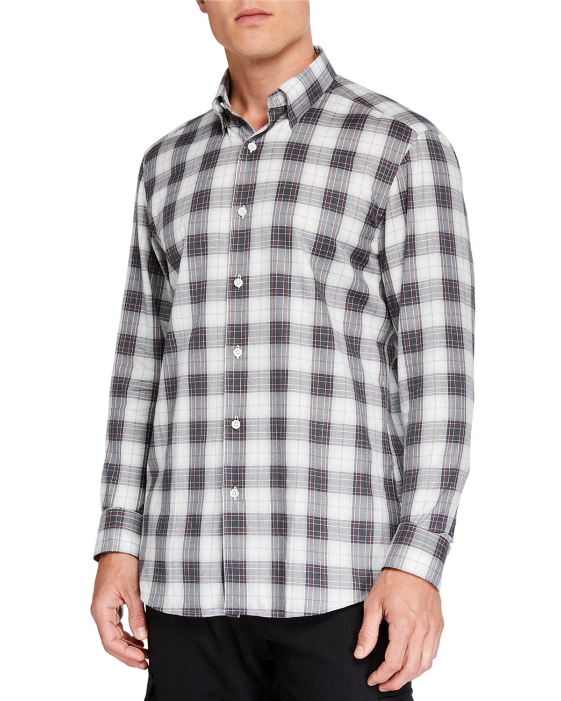 Ermenegildo Zegna T-shirts MEN'S LARGE PLAID SPORT SHIRT