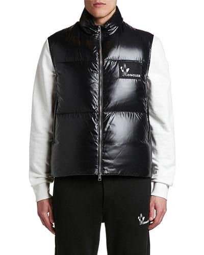 Men's Banker Shiny Nylon Puffer Vest