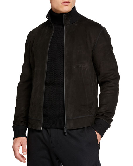 Ermenegildo Zegna Men's Full-Zip Nubuck Leather Jacket