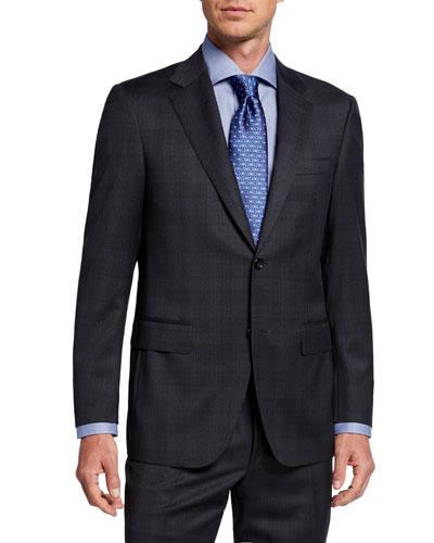 Men's Two-Piece Plaid Wool Suit