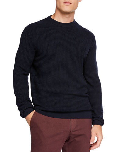 Men's Textured Wool/Cashmere Crewneck Sweater