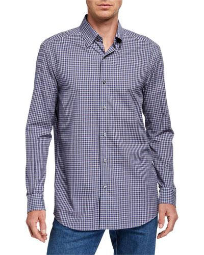 Men's Small Check Regular-Fit Sport Shirt
