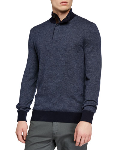 Men's Textured Quarter-Zip Sweater