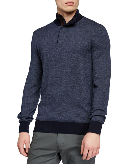 Ermenegildo Zegna Men's Textured Quarter-Zip Sweater