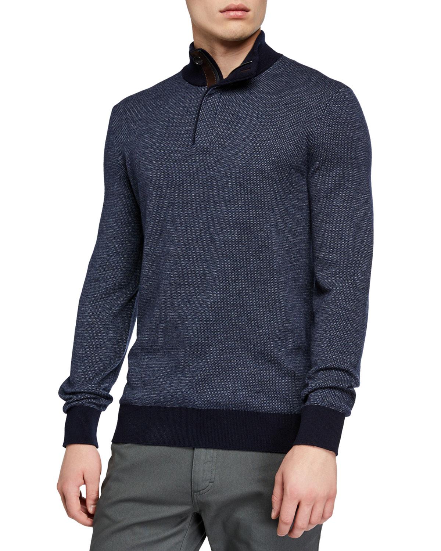 Ermenegildo Zegna Men's Textured Quarter-Zip Sweater In Navy