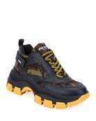 Prada Men's Pegasus Camo & Leather Chunky Sneakers