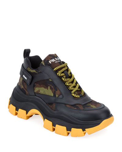 Men's Pegasus Camo & Leather Chunky Sneakers