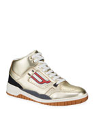 Bally Men's King Metallic Leather High-Top Sneakers