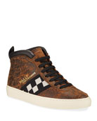 Bally Men's Vita Parcours Distressed Leather Checkerboard
