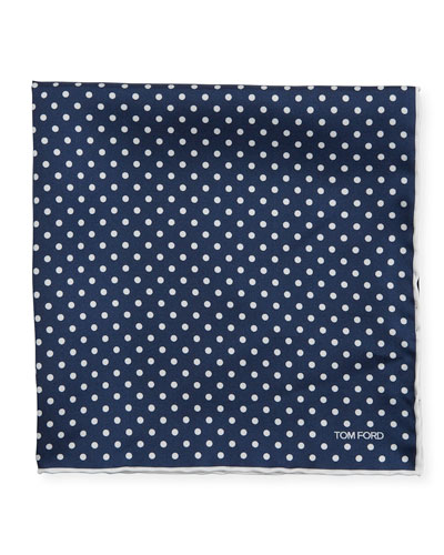 Men's Dotted Silk Pocket Square, Navy/White