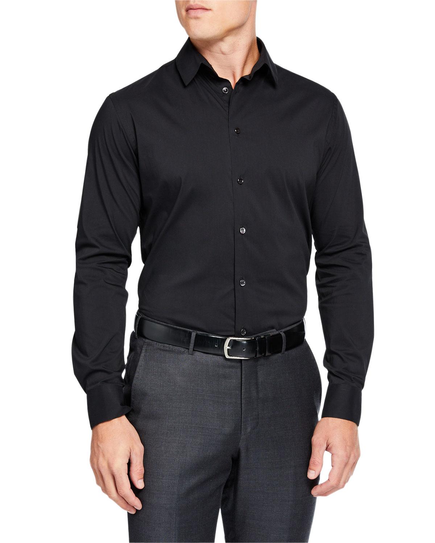 Men's Solid Long-Sleeve Sport Shirt