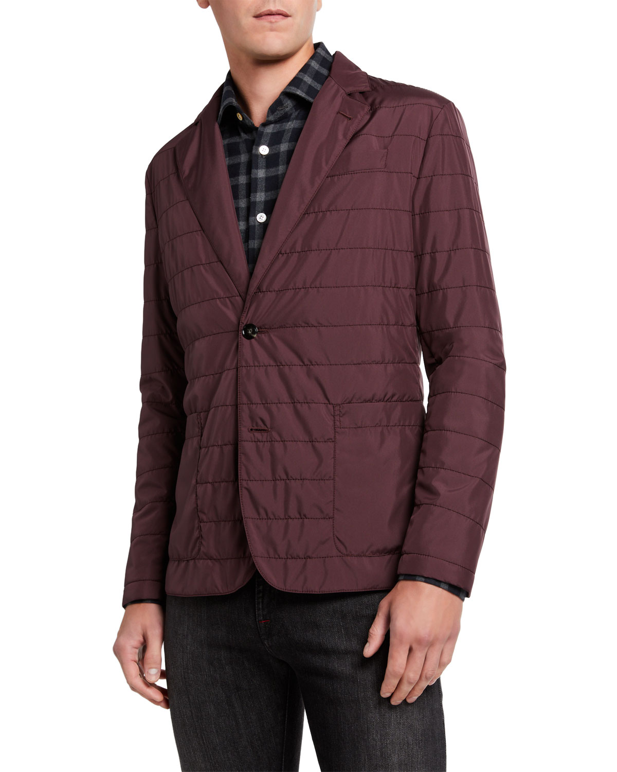 Kiton Jackets MEN'S QUILTED PACKABLE TWO-BUTTON JACKET