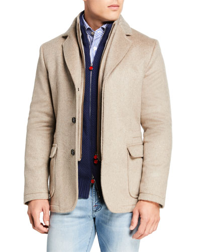 Men's Three-Button Jacket w/ Zip-Front Bib