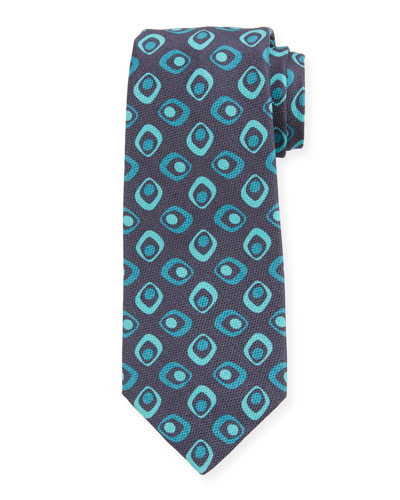 Men's Art Deco Squares Silk Tie, Navy
