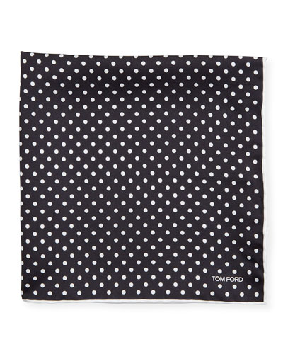 Men's Dotted Silk Pocket Square, Black/White