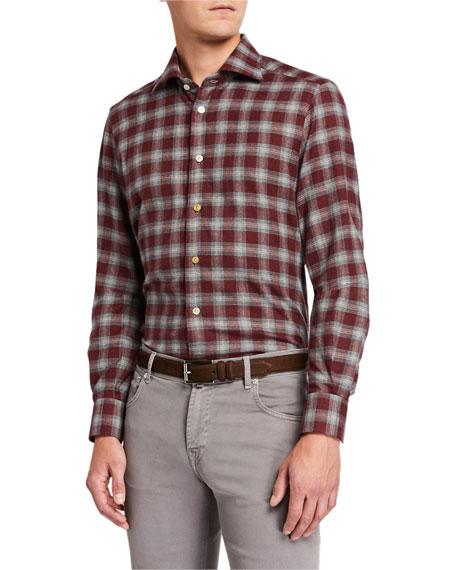 Kiton Men's Plaid Long-Sleeve Cotton Dress Shirt
