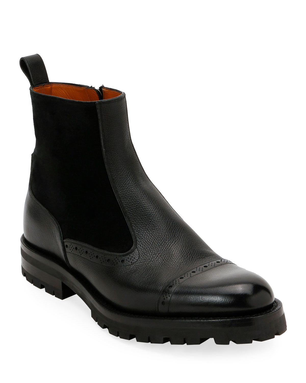 Men's Geber Leather & Suede Side-Zip Boots