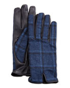 Etro Men's Plaid-Back Leather Gloves