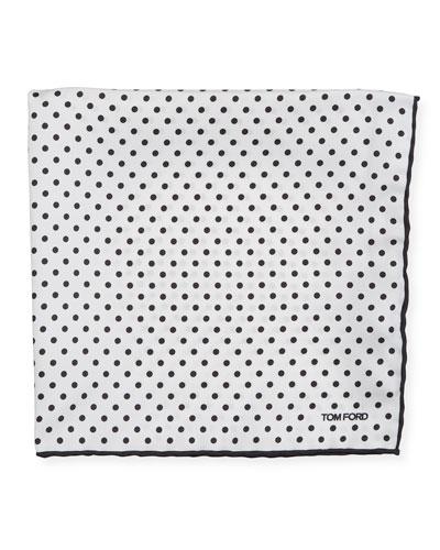 Men's Dotted Silk Pocket Square, White/Black