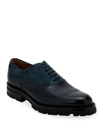 Men's Leather & Suede Lugged Oxford Shoes