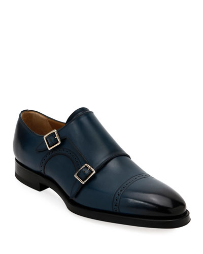 Men's Scardino Leather Double-Monk Loafers