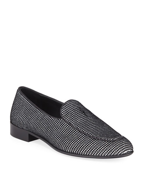 Giuseppe Zanotti Men's Velvet Glitter Dot Loafers