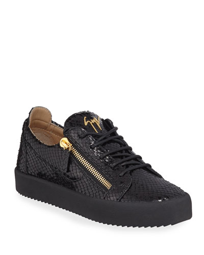 Men's Mimas Embossed Leather Double-Zip Sneakers