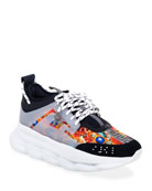 Versace Men's Chain Reaction Caged-Print Sneakers